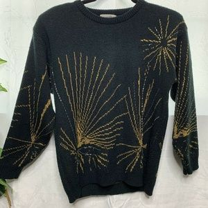 Vintage Grant Park Firework gold Black Sweater S